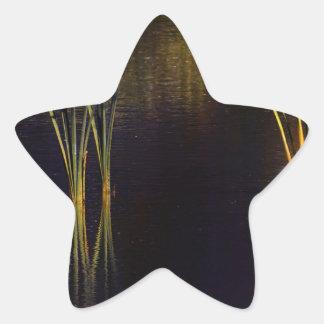 Resplandor de oro Waterscape Pegatina En Forma De Estrella