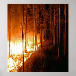 Resplandor del incendio fuera de control posters