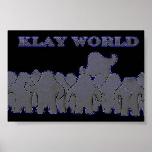 Resplandor del negro del poster del mundo de Klay Póster