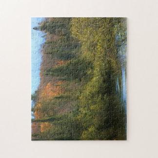 Resplandor del otoño del paisaje del árbol rompecabezas con fotos