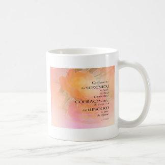 Resplandor del rosa del rezo de la serenidad taza