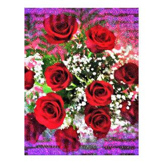 Resplandor del rosa rojo membrete a diseño