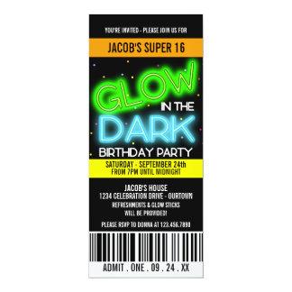 """Resplandor en el fiesta estupendo oscuro 16 invitación 4"""" x 9.25"""""""