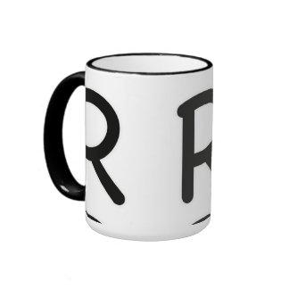 Resplandor externo de la letra R Taza De Dos Colores