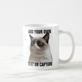 Resplandor gruñón del gato - añada su propio texto tazas de café