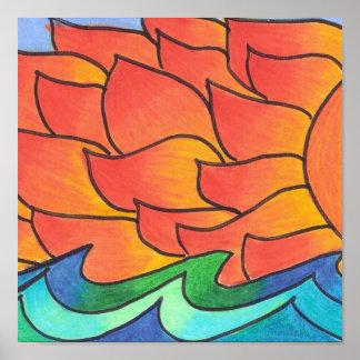 Resplandor-impresión de la puesta del sol póster
