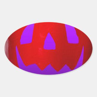 Resplandor púrpura Bell roja Peppolantern Pegatina Ovalada