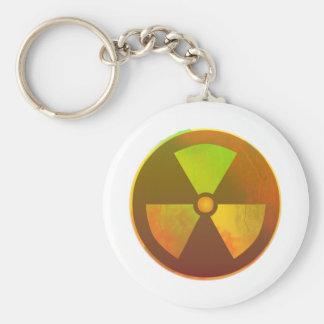 Resplandor radiactivo del símbolo nuclear llavero redondo tipo pin