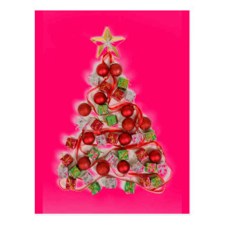 Resplandor RETRO ROSADO del árbol de navidad Tarjetas Postales