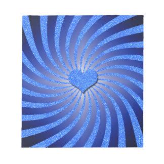 Resplandor solar azul del brillo con el corazón de blocs