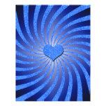 Resplandor solar azul del brillo con el corazón de membrete personalizado