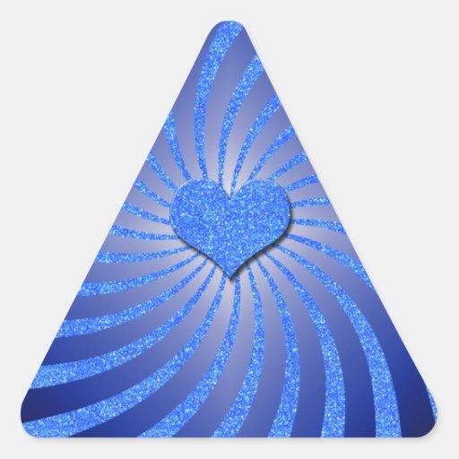 Resplandor solar azul del brillo con el corazón de pegatinas triangulo personalizadas