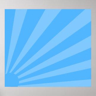 Resplandor solar azul póster