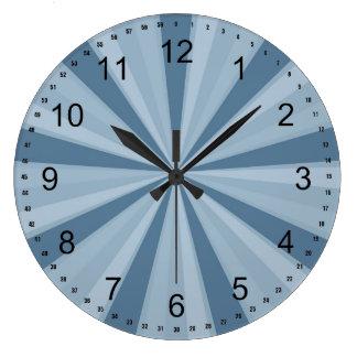 Resplandor solar azul reloj redondo grande