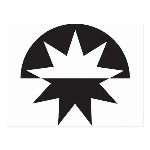 Resplandor solar blanco y negro de la estrella del postal