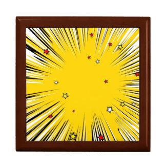 Resplandor solar cómico del amarillo del estilo caja de joyas