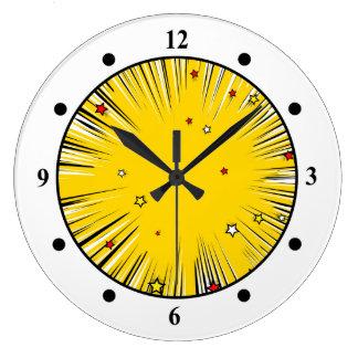 Resplandor solar cómico del amarillo del estilo reloj redondo grande