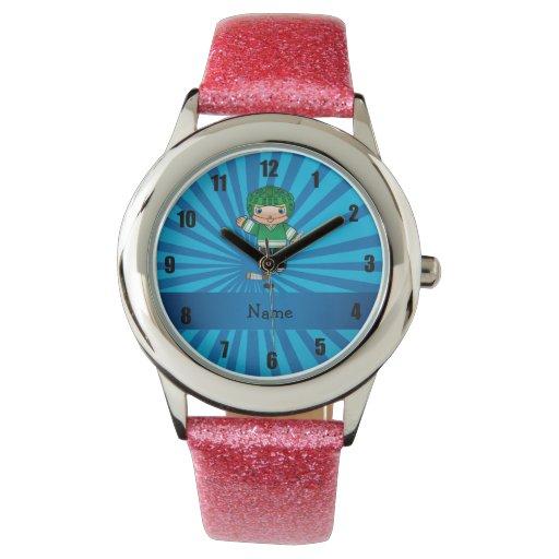 Resplandor solar conocido personalizado del azul relojes de mano