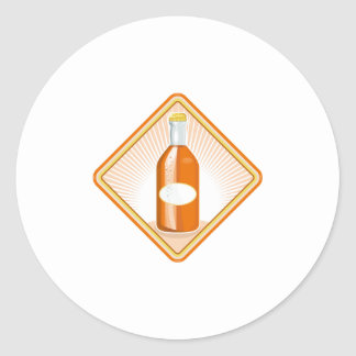 resplandor solar de la botella de soda anaranjada pegatina redonda