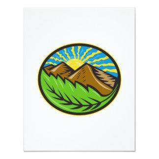 Resplandor solar de la hoja de las montañas retro invitacion personalizada