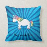 Resplandor solar del azul del unicornio almohada