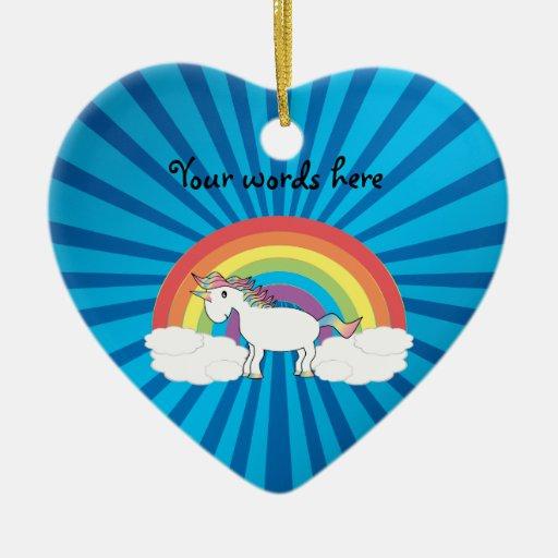 Resplandor solar del azul del unicornio del arco adorno de cerámica en forma de corazón