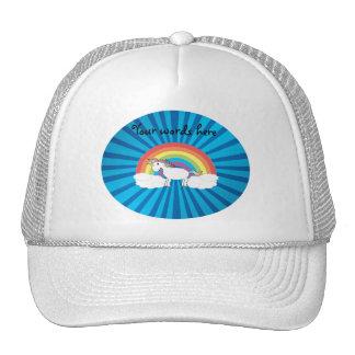 Resplandor solar del azul del unicornio del arco gorras