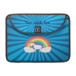 Resplandor solar del azul del unicornio del arco i funda para macbooks