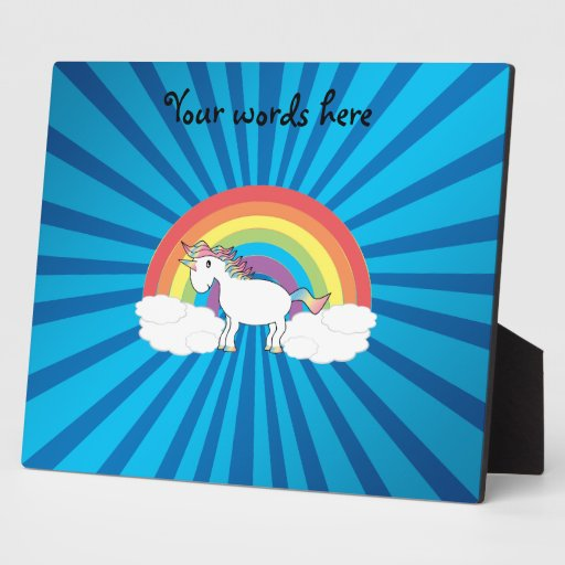 Resplandor solar del azul del unicornio del arco i placa