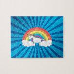 Resplandor solar del azul del unicornio del arco i rompecabezas