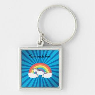 Resplandor solar del azul del unicornio del arco llavero cuadrado plateado
