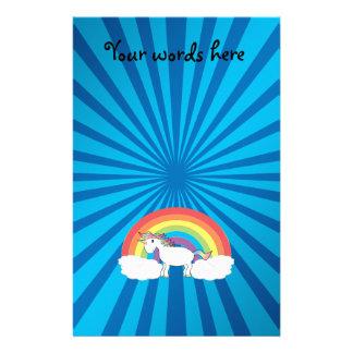 Resplandor solar del azul del unicornio del arco  papeleria