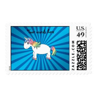 Resplandor solar del azul del unicornio sello