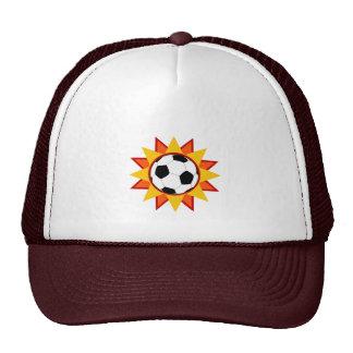 Resplandor solar del balón de fútbol gorras de camionero