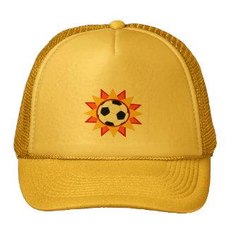 Resplandor solar del balón de fútbol gorro