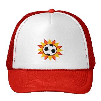 Resplandor solar del balón de fútbol gorros bordados