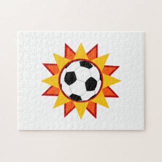 Resplandor solar del balón de fútbol puzzle con fotos