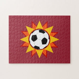 Resplandor solar del balón de fútbol rompecabeza con fotos
