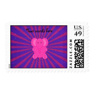 Resplandor solar del brillo del elefante rosado franqueo