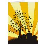 Resplandor solar del cementerio tarjetas