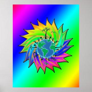 Resplandor solar del ~ del Día de la Tierra Póster