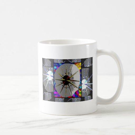 Resplandor solar del reloj multicolor tazas