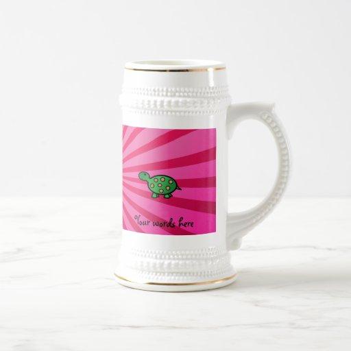 Resplandor solar del rosa de la tortuga del bebé tazas de café