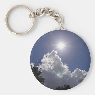 Resplandor solar del UFO sobre las nubes blancas m Llavero Redondo Tipo Pin