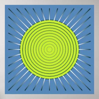 Resplandor solar geométrico moderno - azul de la póster