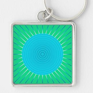 Resplandor solar geométrico moderno - azul y verde llavero cuadrado plateado