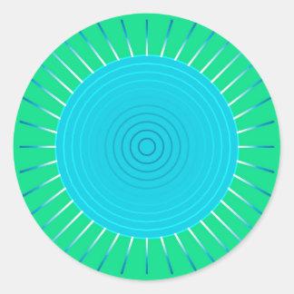 Resplandor solar geométrico moderno - azul y verde pegatina redonda