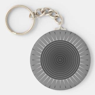 Resplandor solar geométrico moderno - gris oscuro llavero redondo tipo pin