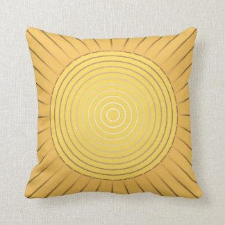 Resplandor solar geométrico moderno - oro/amarillo cojín