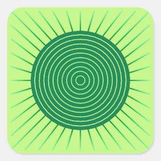 Resplandor solar geométrico moderno - verde pegatina cuadrada
